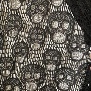 Tops - Black lace kimono with skull detail